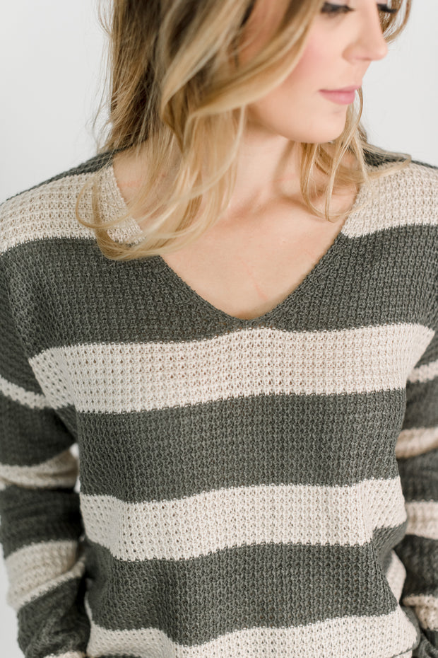 V-Neck Chunky Knit Sweater