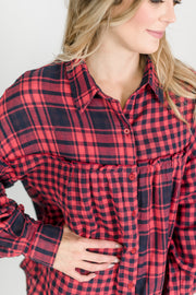 Checkered Print Button Up Collared Top
