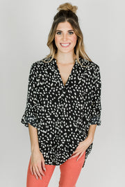 3/4 Sleeve Pebble Print Blouse