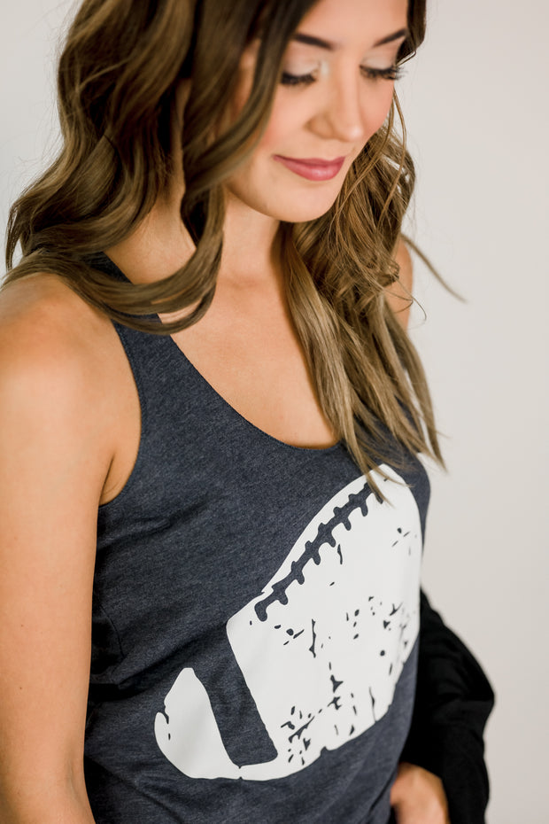 Distressed Football Tank Top