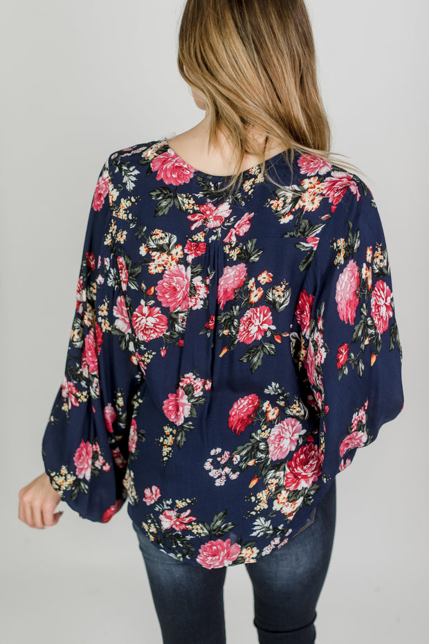Bubble Sleeve Button Up Blouse