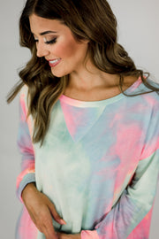 Neon French Terry Tie Dye Pullover