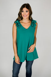 Ruffle Shoulder Tank Top