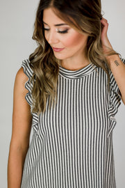 Knit Striped Ruffle Top