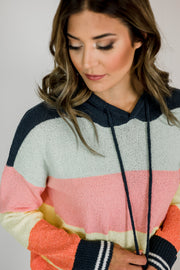 Color Stripe Hooded Sweatshirt
