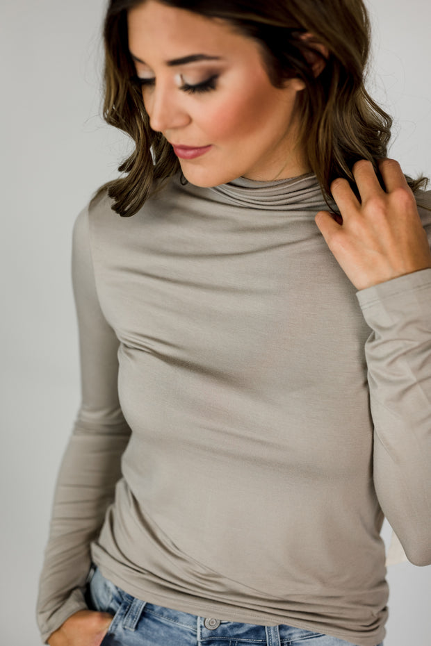Mock Neck Knit Long Sleeve Top
