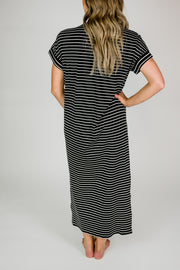 Ribbed Striped Basic Maxi Dress