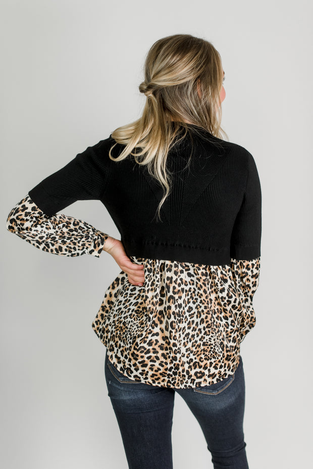Knit Sweater w/Leopard Detail