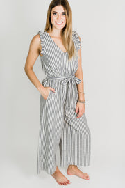 Ruffle Shoulder Cropped Jumpsuit