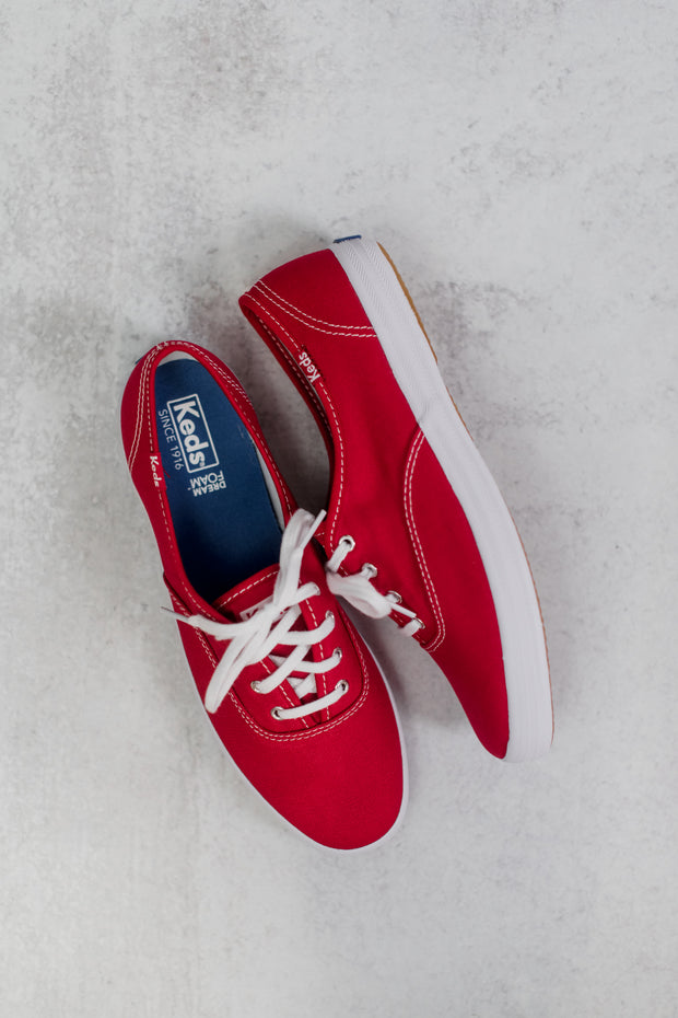 Keds Champion Red Canvas Sneakers