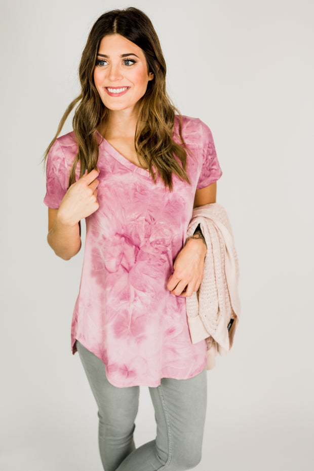 Tie Dye Flowy V-Neck Top