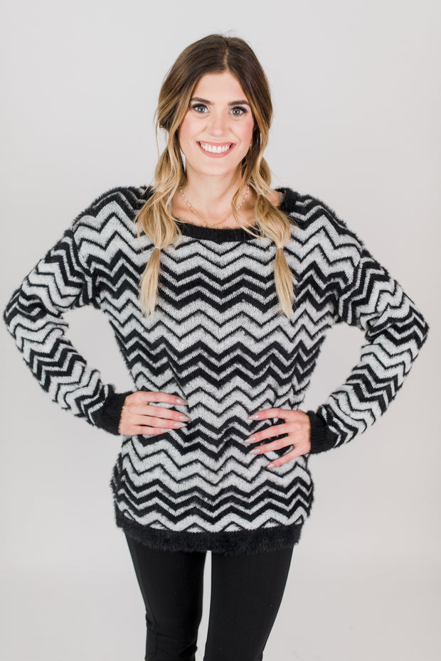 Fuzzy Chevron Print Sweater