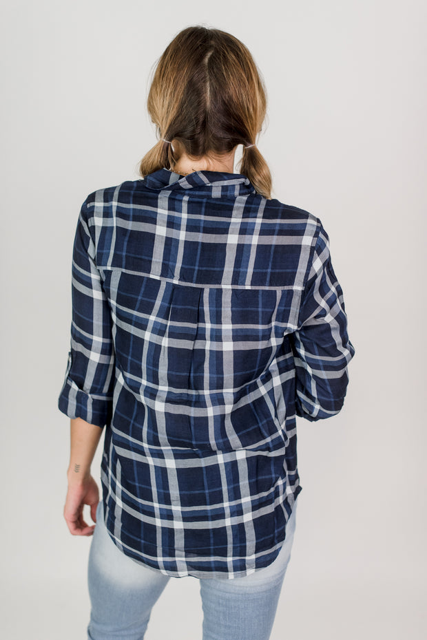 Button Down Plaid 3/4 Sleeve Top
