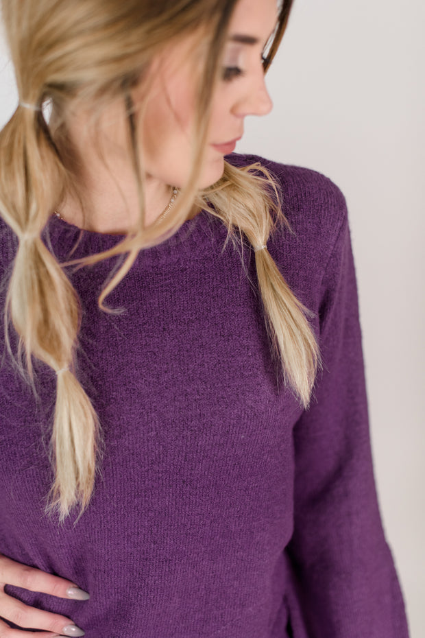 Crew Neck Pullover Puff Sleeve Sweater