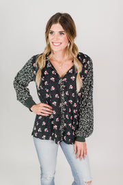 Collared Mixed Print Blouse