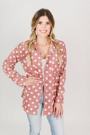 Corduroy Polka Dot Button Down Top