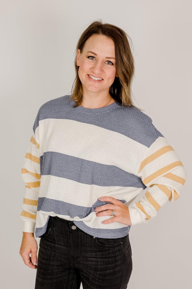 Z Supply Grace Stripe Long Sleeve Stripe Top