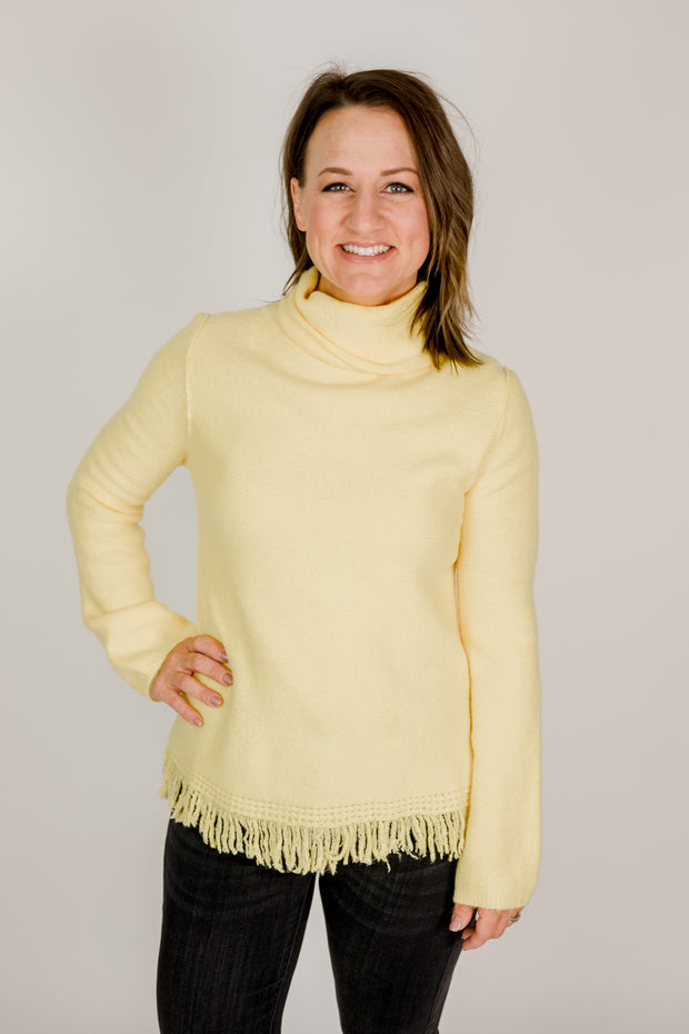 Bright Fringe Turtleneck