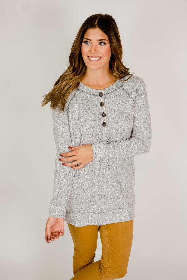 Brushed Fleece Henley Top
