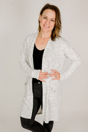 Brushed Fleece Ribbed Pocket Cardigan