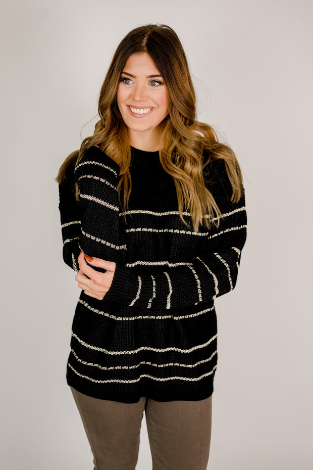 Gold Sparkle Striped Sweater