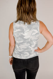Light Camo Faux Button Tank