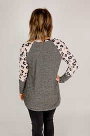 Brushed Leopard Contrast Top