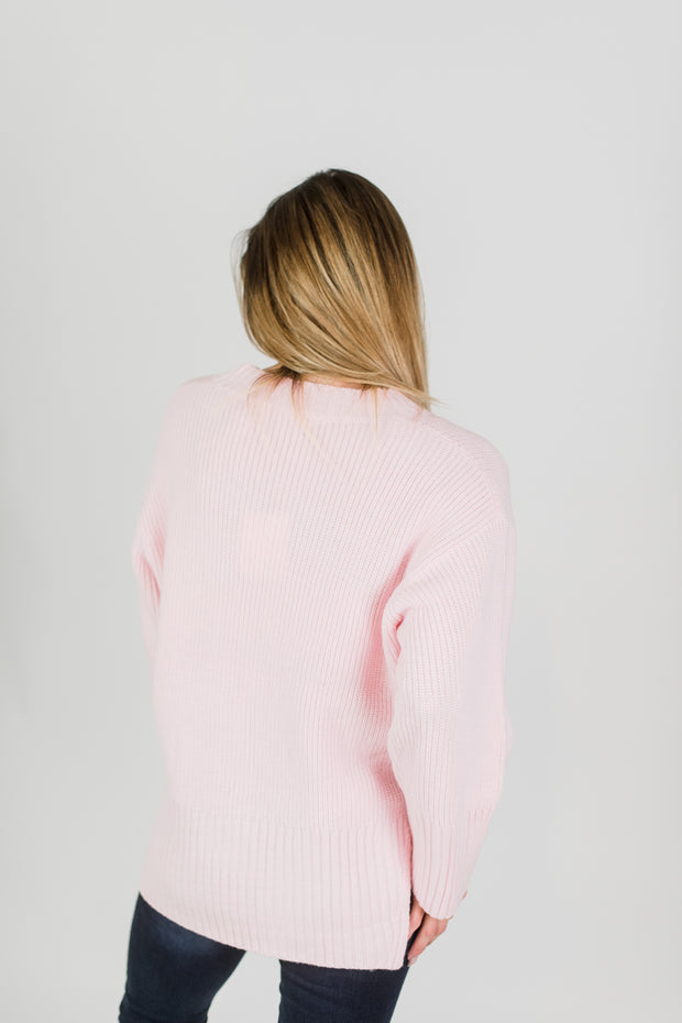 Pretty In Pink V-Neck Sweater