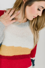 Rainbow Color Block Striped Sweater