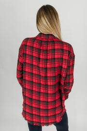 Plaid Collared Top w/Chest Pocket