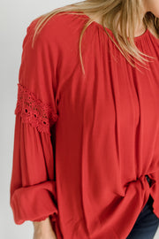Round Neck Lace Sleeve Detail Blouse