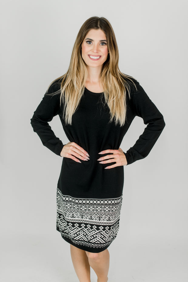 Knitted Aztec Print Dress