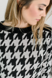 Houndstooth Pattern Boat Neck Sweater