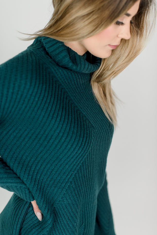 Woven Patterned Turtleneck Sweater