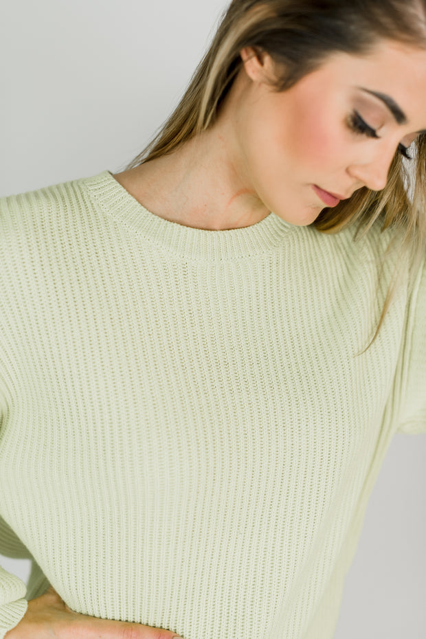 Boat Neck Puff Sleeve Sweater