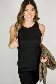 Sleeveless Fitted Rib Tank