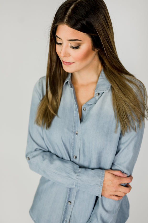 Dear John Opal Chambray Top