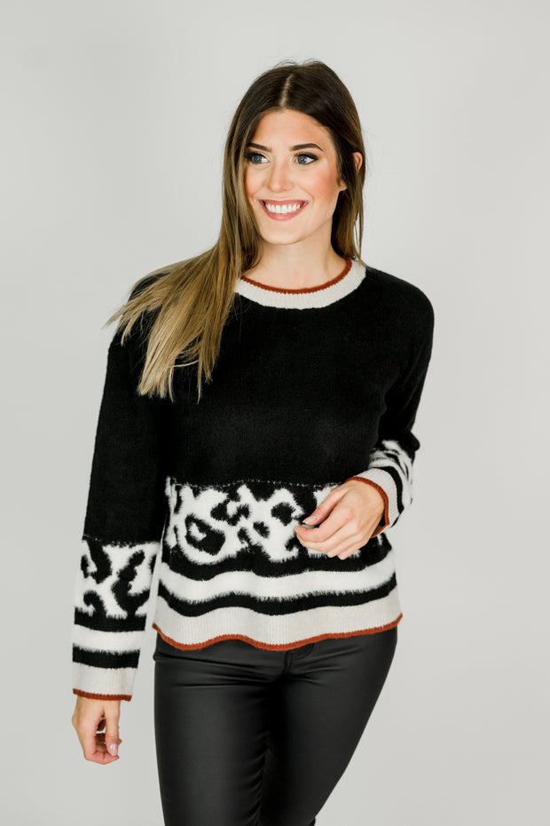 Animal Color Block Crew Neck Sweater