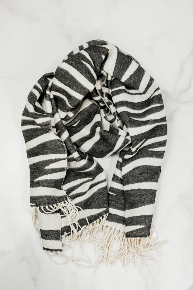 Soft Reversible Zebra Scarf