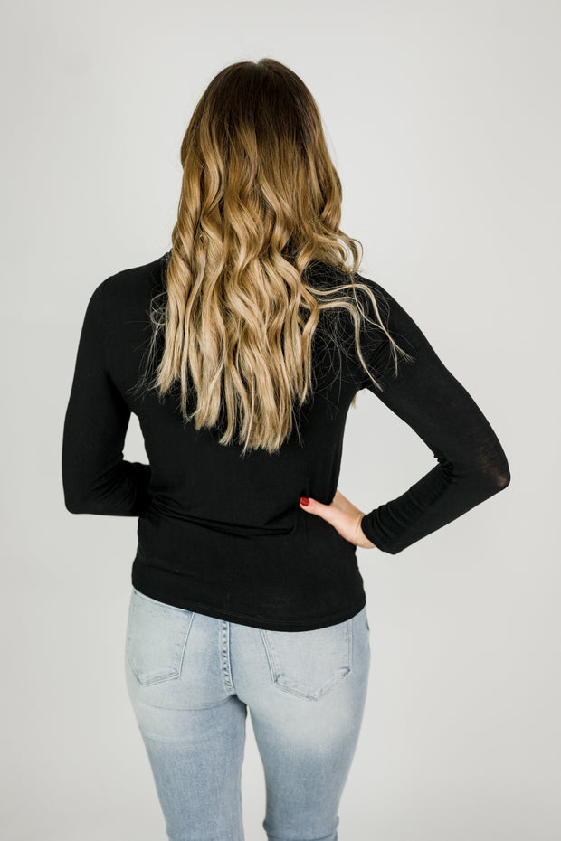 Long Sleeve Funnel Neck Pullover Knit Top