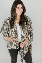 Flowy Overlay Shawl - Mixed Animal Print