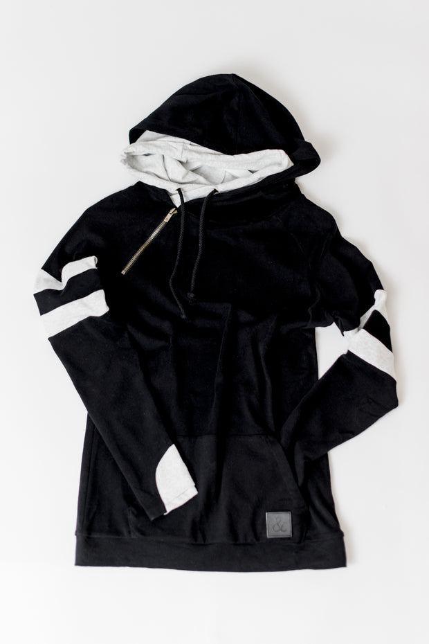 Black w/Sleeve Stripe Doublehood Sweatshirt