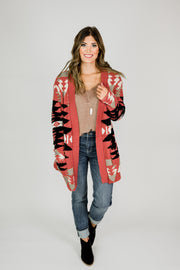 Aztec Pattern Knitted Cardigan