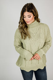 Cable Knit Scalloped Hem Turtleneck Sweater