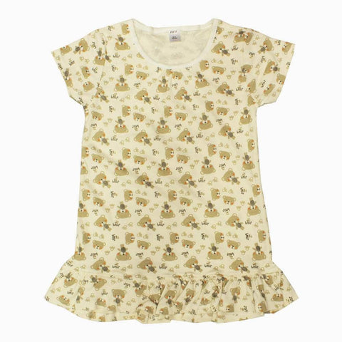 BFL All over Bear Print Cream White Cotton Girls Frill Long Tshirt