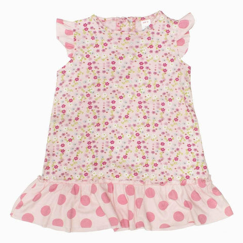 BFL All over Flowers Pink Cotton Girls Dress