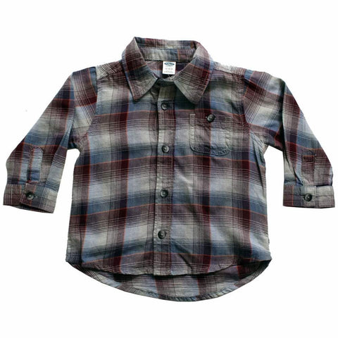 Old Navy(CUT LABEL) Grey and Maroon Big Checks Shirt