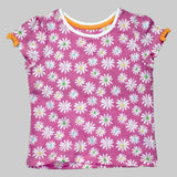 All over Flower Printed Fashion Girls Pink Tshirt