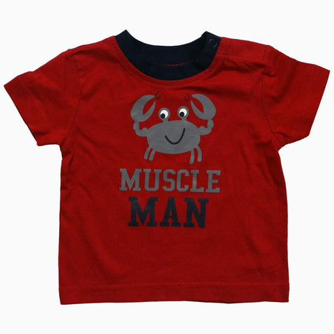 MUSCLE MAN boys Red Tshirt