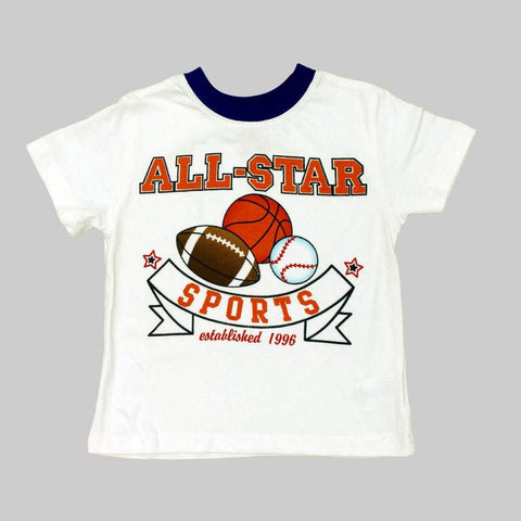 All Stars Sports Boys White Tshirt